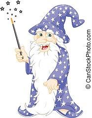 vecchio, mago, magia, presa a terra, bacchetta
