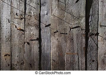 vecchio, malvestito, legno, unghia, struttura, fondo., arrugginito, legno, parete