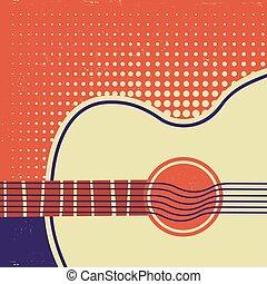 vecchio, manifesto, paper., chitarra, retro, fondo, acustico