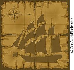 vecchio, mappa, con, immagine, di, grande, nave, e, compasso sorto