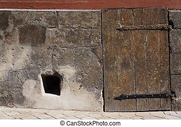 vecchio, medievale, legno, hinges., ferro, porta