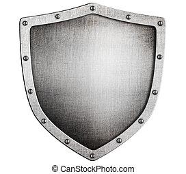 vecchio, medievale, metallo, scudo, isolato, bianco