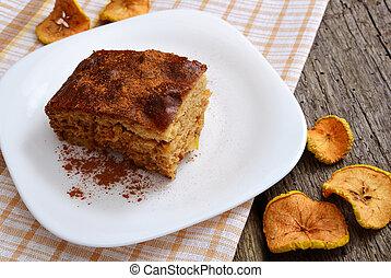 vecchio, mela, legno, torta, fondo., cannella