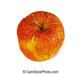 vecchio, mela, pianura, fondo., rottong, bianco