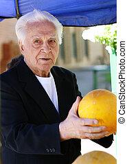 vecchio, mercato, uomo