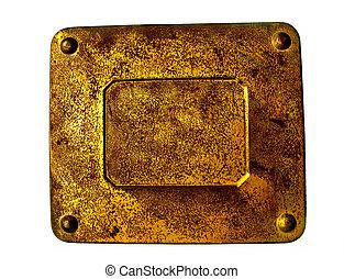 vecchio, metallo arrugginito, piastra