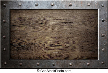 vecchio, metallo, cornice, sopra, legno, fondo