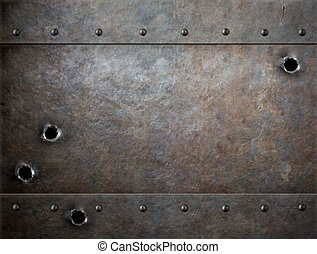 vecchio, metallo, fondo, con, fori pallottola