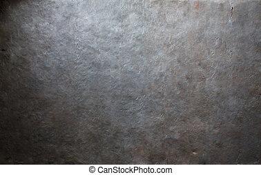 vecchio, metallo, fondo, piastra