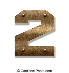 vecchio, metallo, numero due, arrugginito, fondo, bianco