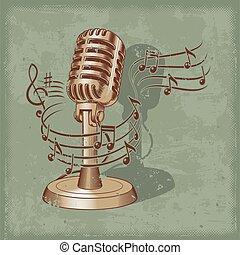 vecchio, microfono, fatto, in, grunge, stile