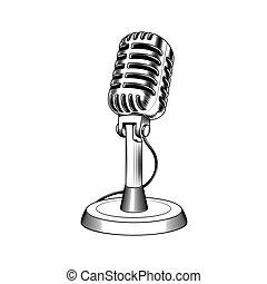 vecchio, microfono, fatto, in, incisione, stile