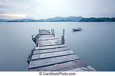 vecchio, molo, passerella, banchina, il, il, lago