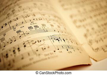 vecchio, musica foglio