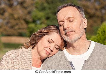 vecchio, natura, coppia, sposato, in pausa, allegro
