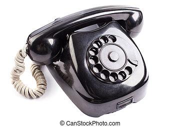 vecchio, nero, telefono, bianco, fondo