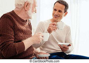 vecchio, nipote, spendere, positivo, tempo, uomo