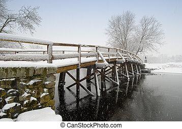 vecchio, nord, inverno, ponte