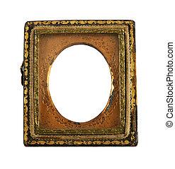 vecchio, ornare, daguerreotype, cornice
