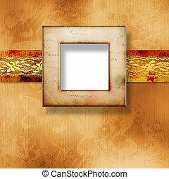 vecchio, oro, cornice, stile vittoriano, su, parete, in, il, stanza