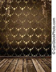 vecchio, oro, cornici, stile vittoriano, su, parete, in, il, stanza