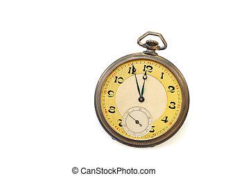 vecchio, orologio tascabile ed antico, isolato, bianco, fondo