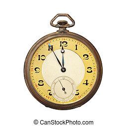 vecchio, orologio tascabile ed antico, isolato, bianco,...