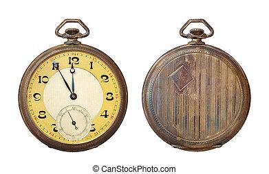 vecchio, orologio tascabile ed antico, isolato, bianco, fondo., percorso tagliente, included.