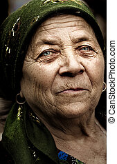 vecchio, paese, rurale, rumeno, donna