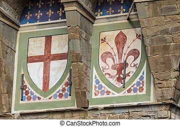 vecchio, palazzo, emblemas, florencia, fachada