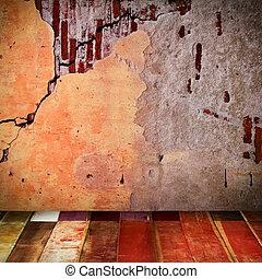 vecchio, parete, con, pavimento legno