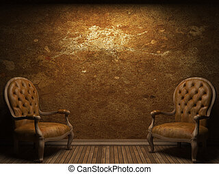 vecchio, parete concreta, e, sedia