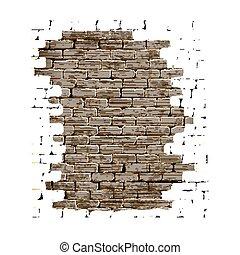 vecchio, parete, intonacare, fondo, mattone bianco