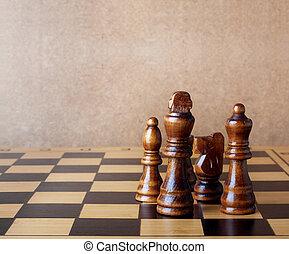 vecchio, parete legno, figure, scacchi, tavola, asse