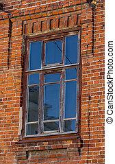 vecchio, parete legno, finestra, mattone, rosso