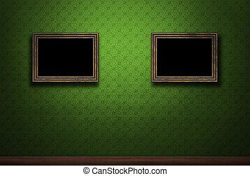 vecchio, parete legno, verde, retro, cornici, grunge