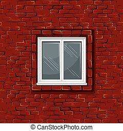 vecchio, parete, modello, seamless, finestra., mattone