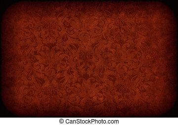 vecchio, parete, modello, struttura, sfondo scuro, floreale, o, rosso