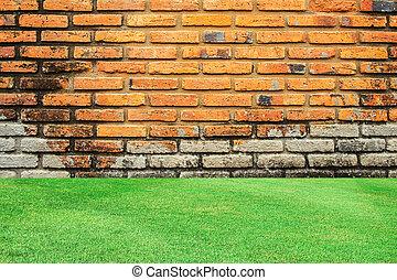vecchio, parete, sfondo verde, mattone, erba