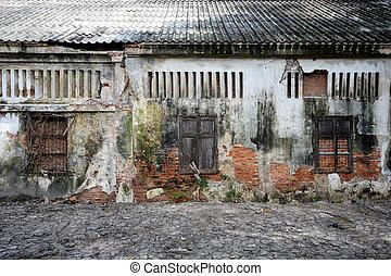 vecchio, parete, struttura, legno, fondo, finestra