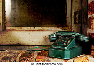 vecchio, parete, vendemmia, -, telefono, telefono, finestra, retro, grunge, mattone