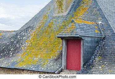 vecchio, pavimentato, fondo, roof.