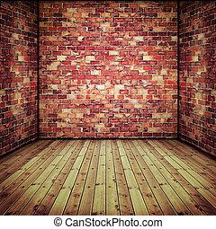 vecchio, pavimento, parete, astratto, legno, interno, mattone