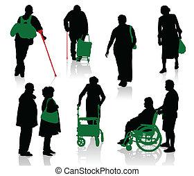 vecchio, peop, silhouette, invalido