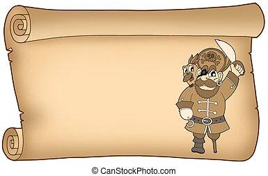 vecchio, pergamena, pirata