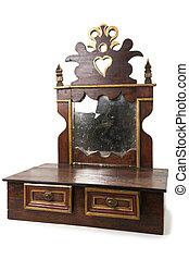 vecchio, pezzo, di, mobilia, con, cassetti, e, specchio