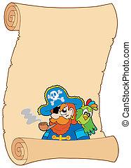 vecchio, pirata, rotolo