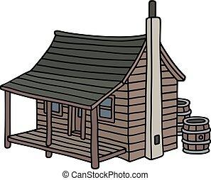 vecchio, planked, divertente, cabina