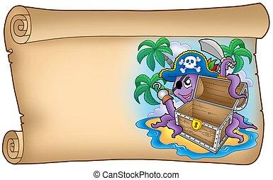 vecchio, polpo, rotolo, pirata