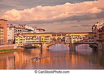 vecchio, ponte, italia, toscana, florencia